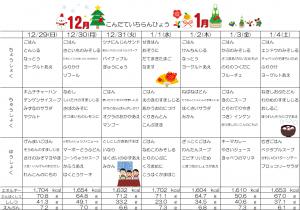 12月29日~1月4日☆週間献立表