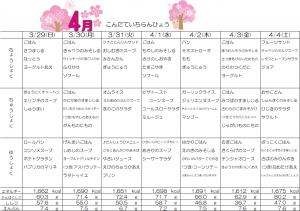 献立一覧表☆3月29日~4月4日