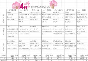 4月12日~4月18日☆週間献立表