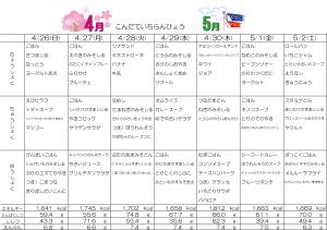 4月26日~5月2日☆週間献立表