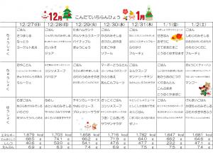 週間献立表☆12月27日~1月2日